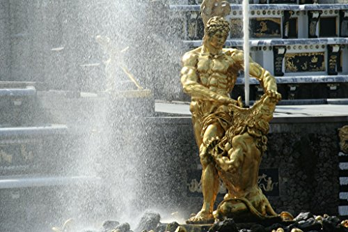 Samson and The Lion Fountain Peterhof Palace St Petersburg Russia Photo Art Print Poster 12x18 inch ()