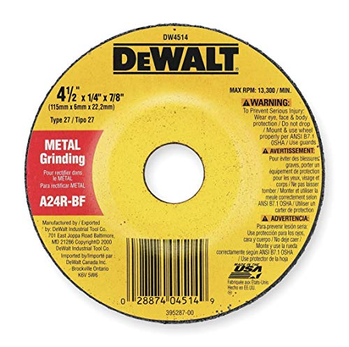 DEWALT DW4514K 4-1/2-Inch x 1/4-Inch Metal Depressed Center Wheel General Purpose Grinding Wheels (5-Pack)