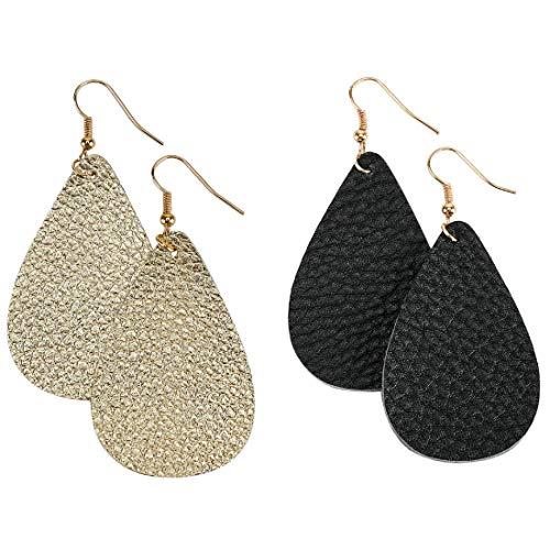 Leather Earrings Lightweight Teardrop Earrings - Handmade Leaf Dangle Antique Looking Petal Summer Earrings Set for Women Girls