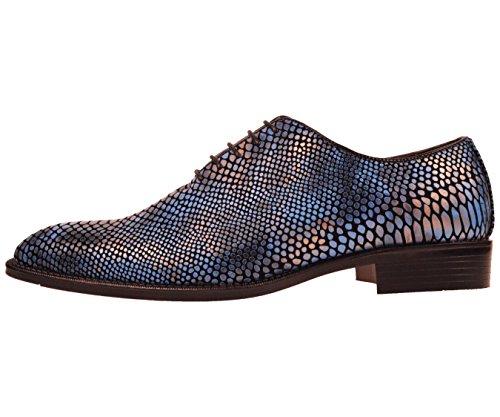 Bolano Scarpe Eleganti Da Uomo In Pelle Stampa Oxford Stampa Serpente: Stile Seabrook Blu