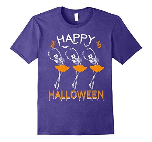 Ballerina Costume Ideas For Halloween (Mens Happy Halloween Ballet Dancing Skeleton Ballerina T-Shirt XL Purple)