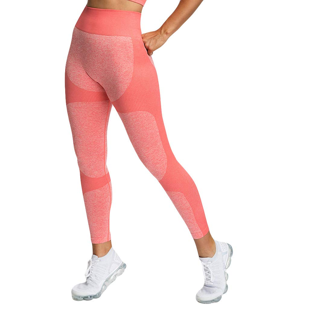 Ymibull Women Seamless Hip-hup Yoga Fitness Sports Pants Training Workout Stretchy Leggings Trousers (Red, L)