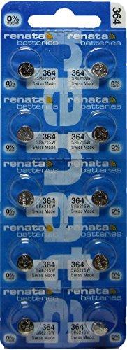 10 Pack 364 Renata Silver Oxide 0% Mercury Electronic Batteries SR621SW