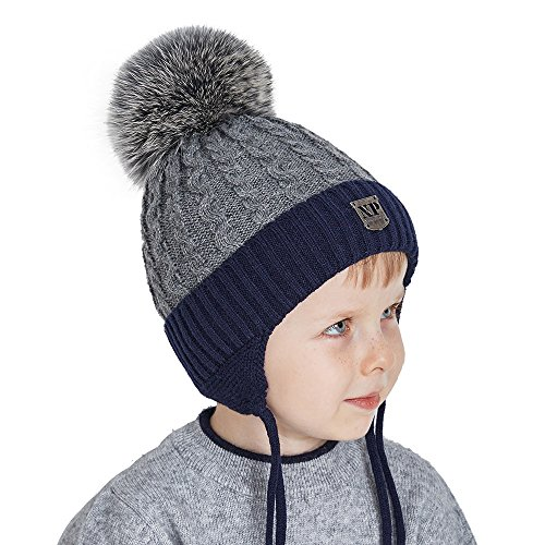 c9d55f5db8c38 Toddler Winter Beanies Hats for Kids Boys Knit Beanie with Real Fox Fur Pom  Pom