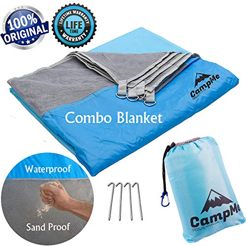 Premium Sand Free And Waterproof Combined - Outdoor Beach Blanket Sand Free/Beach Towel/Picnic Blanket Waterproof And SandFree large Sand Proof, Fast Dry, Strong Nylon, 7.2' X 6.6', 4 Metal Stakes