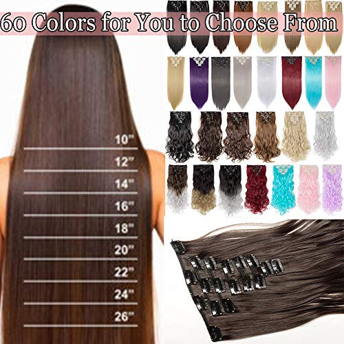 S-noilite Long Curly Wavy Straight Clip in on 8 Pieces Full Head Set Hair Extensions 8pcs Hairpiece Extension Many Colors for Girl Lady Women (23inches-straight, Dark Brown)