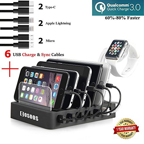 COSOOS Fastest Charging Station with Quick Charge QC 3.0, 6 Phone Charger Cables(3 Type),lWatch Stand,6-Port Multi USB Charger Station,Charging Station for Multiple Devices,Tablet,Kindle(UL Certified)