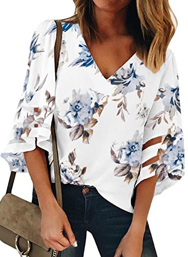 Floral Petite Blouse - LOSRLY Women Vintage Floral Print V Neck 3/4 Bell Sleeve Lace Patchwork Casual Blouses and Tops S White-06