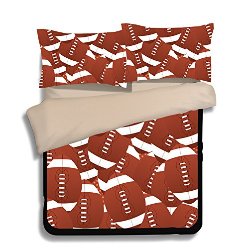 Fantastic Football Puzzle Microfiber 3pc 104''x90'' Bedding Quilt Duvet Cover Sets 2 Pillow Cases King Size by DIY Duvetcover