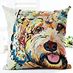 YJBear Stylish Teddy Puppy Dog Print Linen Decorative Throw Cushion Cover Home Decor Office Chair Seat Back Placement Burlap Decorative Pillow Case 18 X 18'' 8