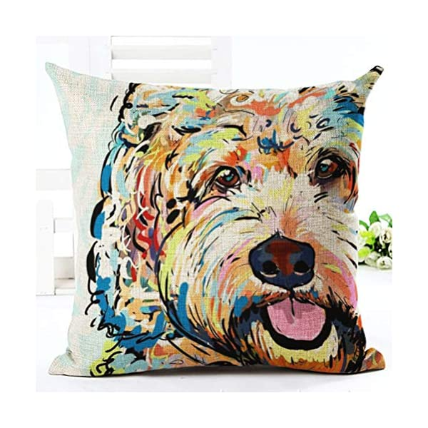 YJBear Stylish Teddy Puppy Dog Print Linen Decorative Throw Cushion Cover Home Decor Office Chair Seat Back Placement Burlap Decorative Pillow Case 18 X 18'' 1