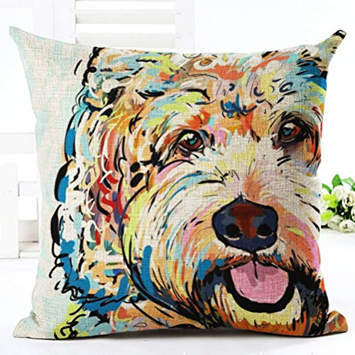 YJBear Stylish Teddy Puppy Dog Print Linen Decorative Throw Cushion Cover Home Decor Office Chair Seat Back Placement Burlap Decorative Pillow Case 18 X -
