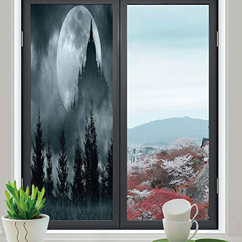 Control Heat and Anti UV Window Cling,Halloween,Reduce Heat, Glare and Block Out Harmful UV Rays,Magic Castle Silhouette Over Full Moon Night Fantasy,24''x70'' -