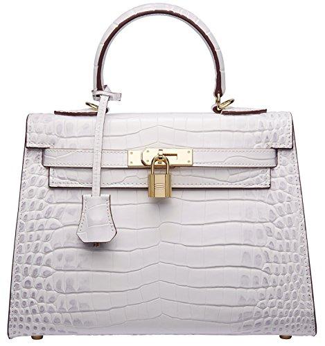 Women's Padlock Crocodile Leather Tote Top Handle Handbags Cherish Kiss(28CM, Croco White) by Cherish Kiss