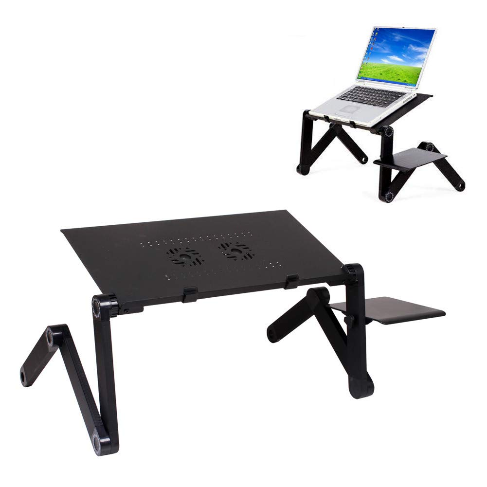 Hunputa Portable Adjustable Aluminum Laptop Desk//Stand//Table Vented w//CPU Fans Mouse Pad Side Mount-Notebook-MacBook-Light Weight Ergonomic TV Bed Lap Tray Stand Up//Sitting-Black