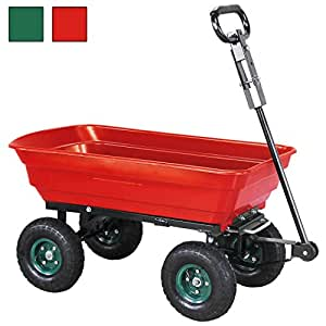 miweba bolller Volcado carretilla Jardín carro tranvía mano carro Kipp Tranvía 300kg de carga con inclinado 10pulgadas Neumáticos de Aire, rojo