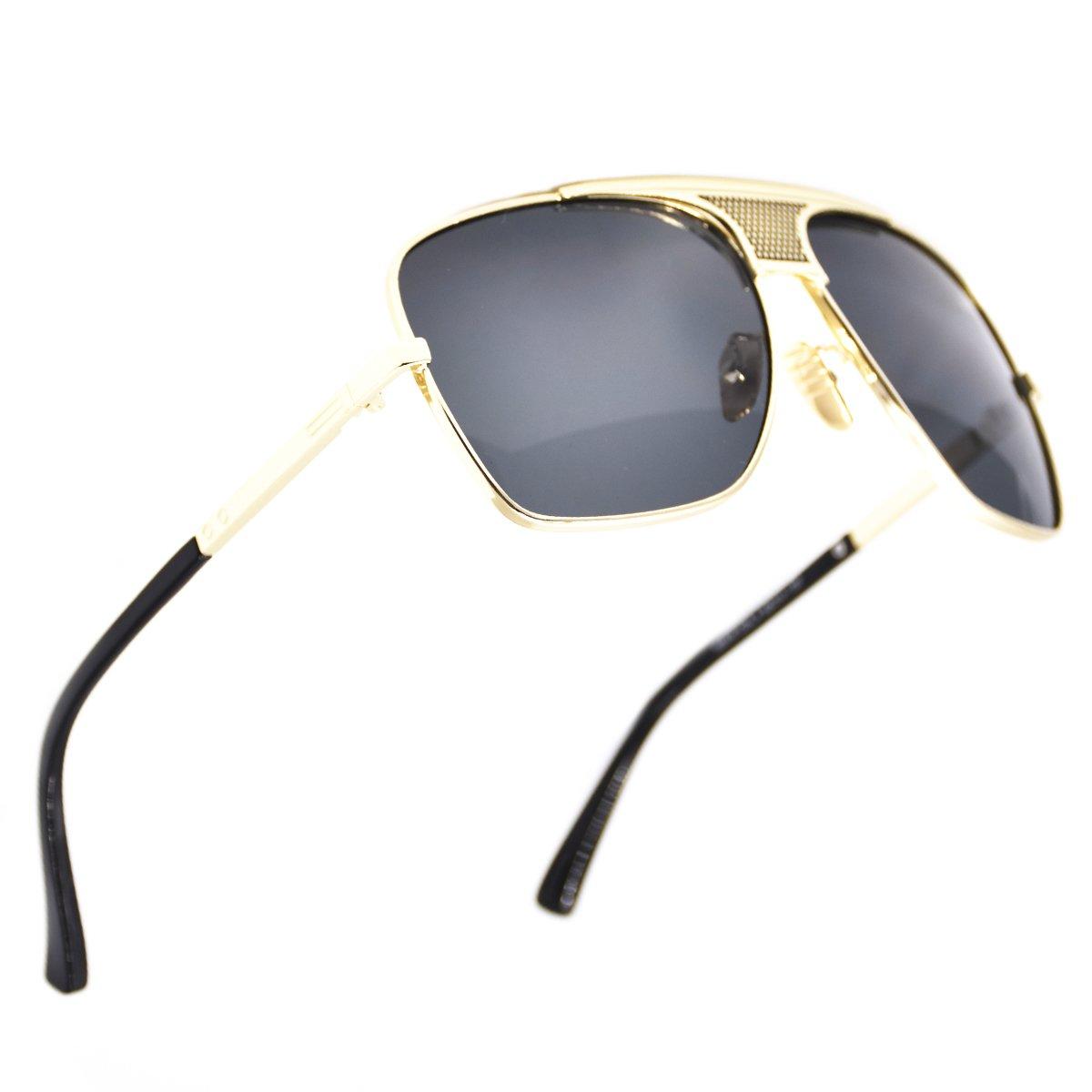 05ea30440 Amazon.com: SamuRita Metal Celebrity Flat Top Aviator Sunglasses Oversized  Designer Shades(Black Lens/Gold Frame): Clothing