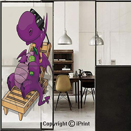 Reptile 3D Decorative Film Privacy Window Film No Glue,Frosted Film Decorative,Funny Dragon Enjoying Sunny Weather on the Beach Reptile Myth Cocktail Art Decor Decorative,for Home&Office,23.6x59Inch P