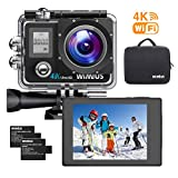 WiMiUS 4K Ultra HD 16MP Sports Action Camera WiFi Helmet Camera Underwater Waterproof Camcorder 170 Degree Wide Angle with 2 PCS Rechargeable Batteries and Mounting Accessories Kit