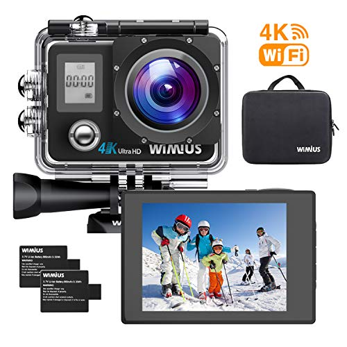 WiMiUS Sports Action Camera 4K Ultra HD 16MP WiFi Helmet Camera Underwater Waterproof Camcorder 170°Wide Angle 2 PCS Rechargeable Batteries Mounting Accessories Kit
