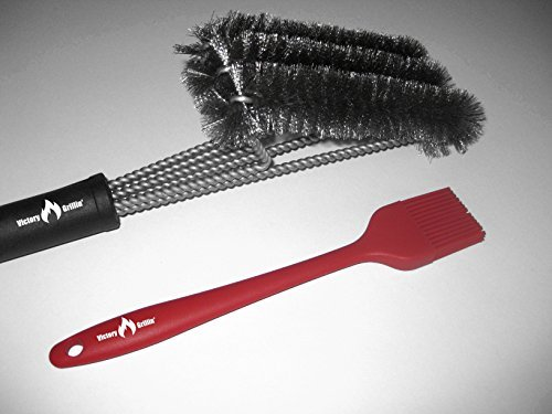 Barbeque Grill Brush By Victory Grillin' – 18 Inches Long, 3 Stainless Steel Brushes in 1, Strong Ergonomic Design, Perfect for All Grill Types, Free Basting Brush, Enhance Your Grill Experience Now!