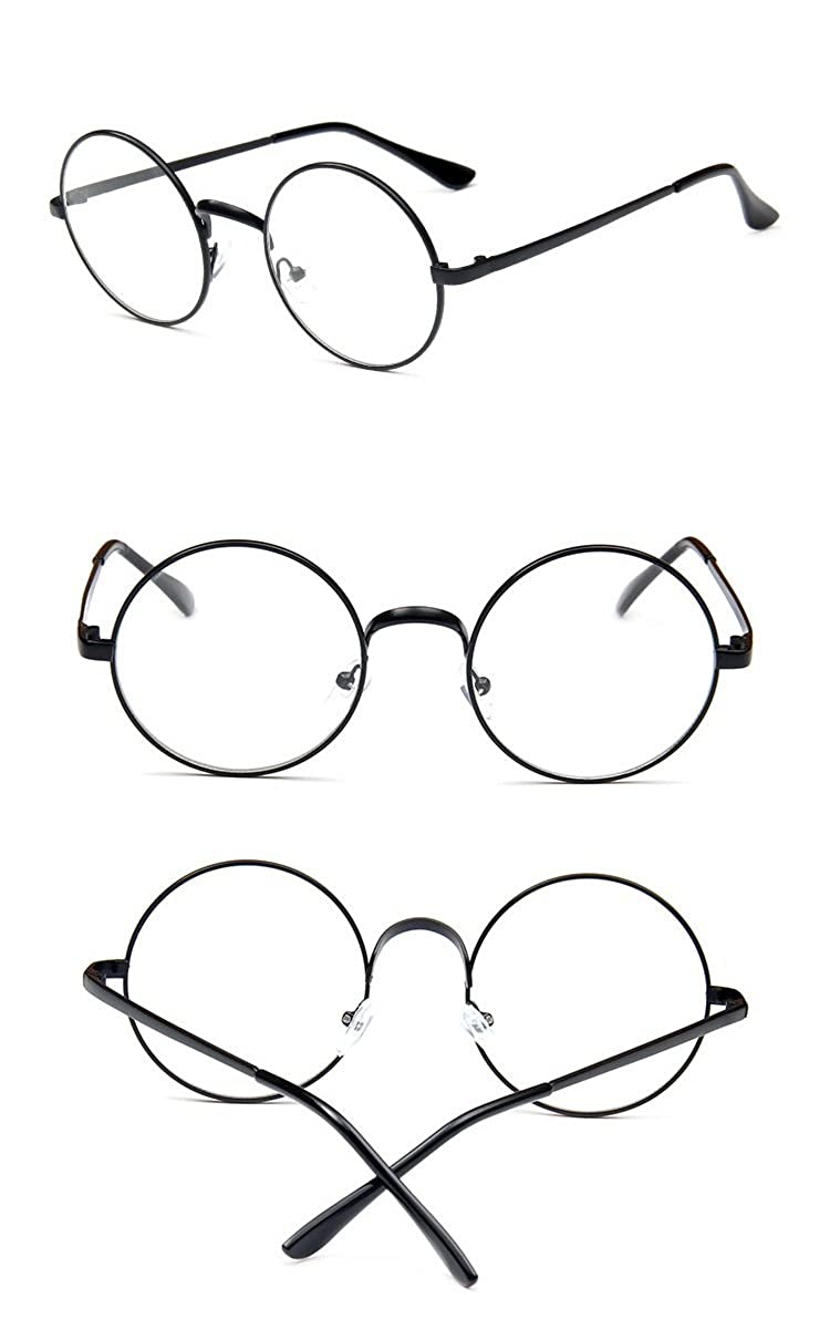 Nuni Classic Metal Wire Frame Round Eyeglasses Small Size transparent)