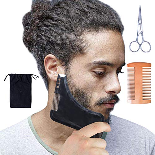 3 Pcs Beard Comb Grooming Kit – Beard Products – Beard Shaping Tool with Beard Comb & Black Beard Shaping & Styling Tool & Beard Trimming Scissors for Men's Care