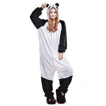 JINZFJG Pijamas Siameses de Franela Dibujo Animado Hombre/Mujer Pijama Disfraz Cosplay, Panda Blanco