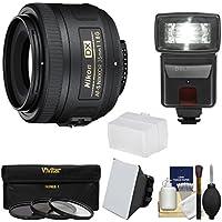 Nikon 35mm f/1.8 G DX AF-S Nikkor Lens with 3 Filters + Flash & 2 Diffusers Kit for D3200, D3300, D5300, D5500, D7100, D7200 Cameras Basic Intro Review Image