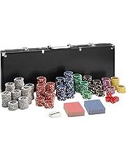 TecTake 402560 Maletín de Póker Aluminio con 500 Fichas Láser Poker Chips | Plateado | Incl. 5 Dados + 2 Barajas de Cartas + 1 Ficha de Dealer
