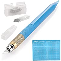 ヒマラヤ クラフトツール 彫刻刀 モデラーズナイフ アートナイフ デザインナイフ【キャップ付き、青色、12.8cm】 A4カッターマット付き(220x300x3mm) 替刃(30個)と替針(1本)付き重量:300g