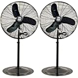 Air King 30 3 Speed 1/3 HP Adjustable Industrial Pedestal Stand Fan (2 Pack)