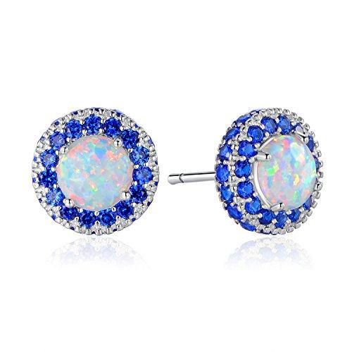 GEMSME 925 Sterling Silver Opal and Sapphire Halo Stud Earrings