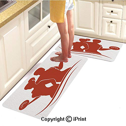 Flannel Kitchen Carpet,Muscled Man and Woman Silhouettes Holding Dumbbells Gym Health Strength Activity Decorative,Soft Cushion Anti-Fatigue Floor mat,16