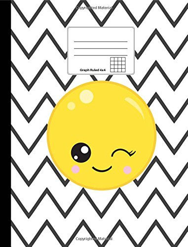 """Emoji Composition Notebook: Winking Emoji, Graph Ruled 4x4, Softcover, 100 sheets/200 pages, 9 3/4"""" x 7 1/2"""" (24.7 cm x 19 cm) (Emoji Notebooks) (Volume 1) PDF"""