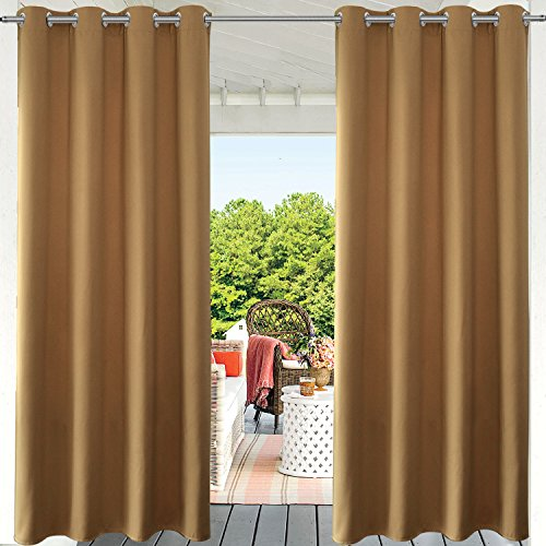 PRAVIVE Blackout Pergola Shade Blind - Indoor/Outdoor Patio Privacy Screen Curtain Thermal Insulated Porch Drape for Deck Decor with Anti-Rust Grommet Top, Khaki, 52