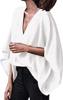 Yaseking Women Plus Size Tops, Summer Chiffon Deep V Neck Loose Bat-Wing Flare Sleeve T-Shirt Top