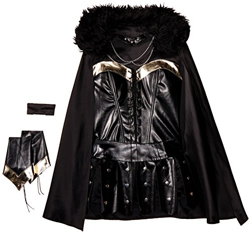 Be Wicked Costumes Women's Warrior Princess Costume, Black/Silver, Medium/Large -
