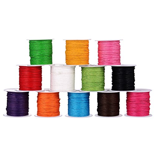 Shappy 12 Rolls 1 mm Waxed Cord, Imitation Leather Waxed Thread Braided Strings for Craft Making, DIY, Beading, 12 Colors, 10 Meters Each (Wax Leather Cord)