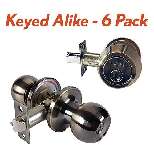 6 Pack Keyed Alike - KIASET Keyed Entry Door Knob with Double Cylinder Deadbolt Combo Lock Set, Antique Brass (6 Pack)