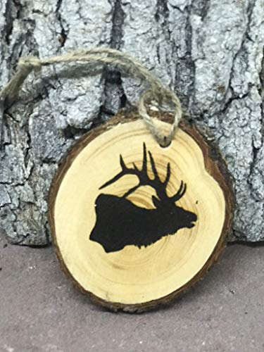 ELK Head wood burned Christmas Ornament