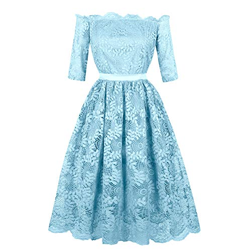 Womens Vintage 40s 50s 60s Lace A-Line Off Shoulder Pleated Half Sleeves Dress(S-Colour G2) ()