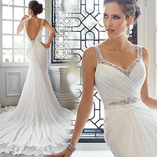 Chiffon Collo Da Bianchi Eleganti Donne Con Besswedding V Vestiti Lungo Delle Sirena Cocktail 7qxSvc8ZEw