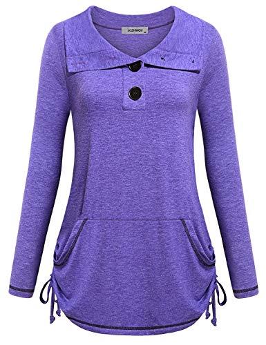 - Active Tops for Women Long Sleeve, Misses Mock Neck Fresh Flattering Kangaroo Pocket Tunic Sweatshirt Flared Draped Fitness Tennis Tee Shirts Fashion 2018 Purple M