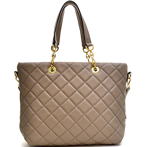Trendy Classic Large Capacity Solid Color Leather Quilted Tote Bag with Chained Handles Removable Shoulder Strap (Chained Handle)