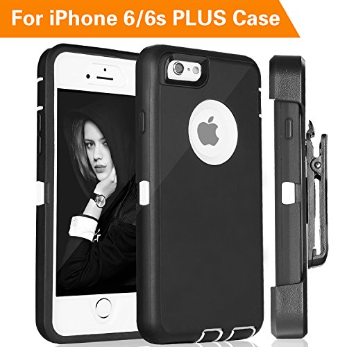 iPhone 6S Plus Case,FOGEEK Protective Case Heavy Duty Cover Compatible for iPhone 6 Plus & iPhone 6S Plus 5.5 inch 360 Degree Rotary Belt Clip & Kickstand ()