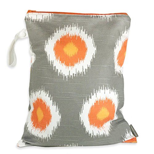 Logan + Lenora Classic Wet Bag - Medium Cloth Diaper Wet Bag - Beach, Pool, Gym Bag for Swimsuits or Wet Clothes - Made in USA -Waterproof (Tangerine IKAT)