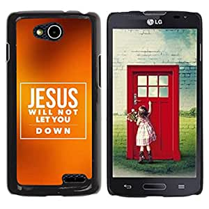 Paccase / SLIM PC / Aliminium Casa Carcasa Funda Case Cover para - BIBLE Jesus Will Not Let You Down - LG OPTIMUS L90 / D415