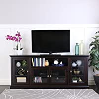 WE Furniture 70 Highboy Style Wood TV Stand Console, Espresso