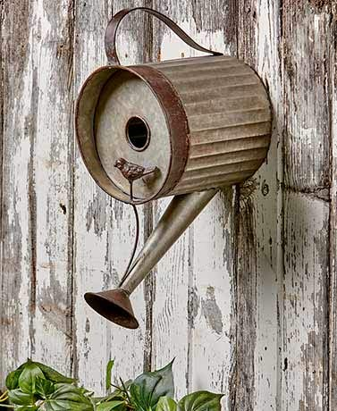 MattsGlobal Rustic Actual Galvanized Tin Metal Watering Can Birdhouse ()